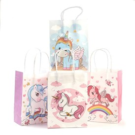 Rectangle  Paper Pouches Gift Shopping Bags, Unicorn