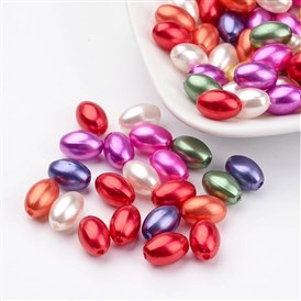ABS Plastic Imitation Pearl Beads, Rice, 11x7.5mm, Hole: 1mm; about 1406pcs/pound
