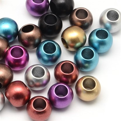 Matte Rondelle Spray Painted Acrylic Beads, Large Hole Beads-1
