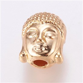 Alloy Beads, Long-Lasting Plated, Real Gold Plated, Buddha's Head