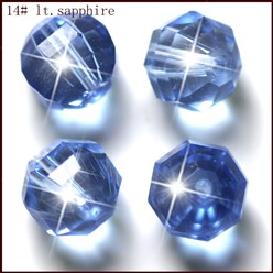LightSkyBlue Imitation Austrian Crystal Beads, Grade AAA, Faceted, Round, LightSkyBlue, 10mm, Hole: 0.9~1mm
