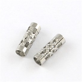 Hollow Column 201 Stainless Steel Beads, Smooth Surface, 12x4x4mm, Hole: 3mm