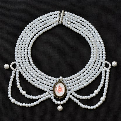 Free Tutorial Multi-stranded Pearl Choker Necklace-1