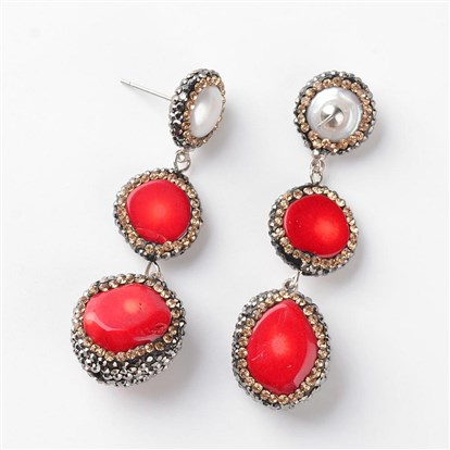 Natural Coral Pendants Ear Studs, with Rhinestone and Brass Findings-1