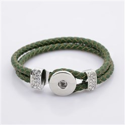 SeaGreen Leather Cord Snap Bracelet Making, with Environmental Zinc Alloy Grade A Rhinestones Snap Leather Cord Clasps and Snaps, Platinum, SeaGreen, 230x11mm; Fit Snap Buttons in 6mm Knob
