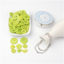 Green Yellow Free Tutorial DIY Jewelry Sets For Bracelet Making, Mixed Acrylic Buttons, Copper Wire and Iron Bracelets, Green Yellow, 205mm