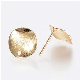 Brass Ear Stud Findings, with Loop, Nickel Free, Real 18K Gold Plated, Flat Round