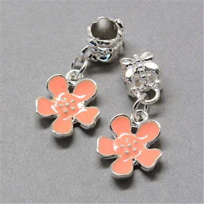 Alloy Enamel European Dangle Beads, Large Hole Beads, Flower, Silver-1