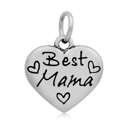 316 Stainless Steel Enamel Pendants, Heart with Word Best Mama, 16.5x17x4mm, Hole: 5mm-1