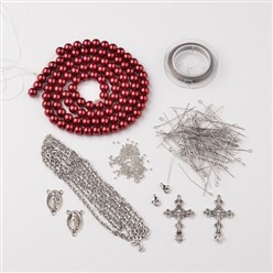 Dark Red DIY Jewelry Material Packages, Including Tibetan Style Alloy Pendants, Glass Pearl Beads, Stainless Steel Findings, Chain and Tiger Tail, Dark Red, 8x1mm