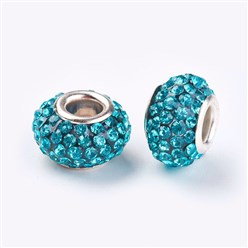 Aquamarine Grade A Rhinestone European Beads, Large Hole Beads, Resin, with Silver Color Brass Core, Rondelle, Aquamarine, 12x8mm, Hole: 4mm