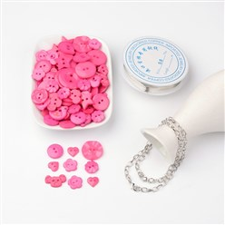 Hot Pink Free Tutorial DIY Jewelry Sets For Bracelet Making, Mixed Acrylic Buttons, Copper Wire and Iron Bracelets, Hot Pink, 205mm
