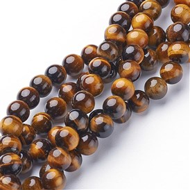 Gemstone Beads Strands, Grade A Tiger Eye, Round