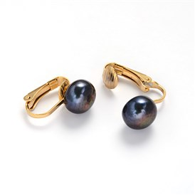 304 Stainless Steel Freshwater Pearl Clip-on Earrings, 19x4x17mm