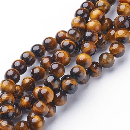 Gemstone Beads Strands, Grade A Tiger Eye, Round-1