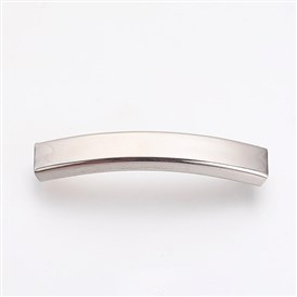 201 Stainless Steel Slide Charms, Polished, Rectangle