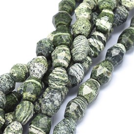 Natural Silver Line Jasper Beads Strands, Faceted, Oval