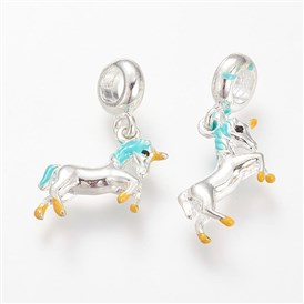 Alloy Enamel European Dangle Beads, Horse