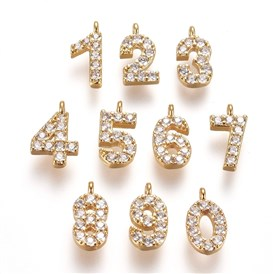Brass Micro Pave Clear Cubic Zirconia Charms, Number