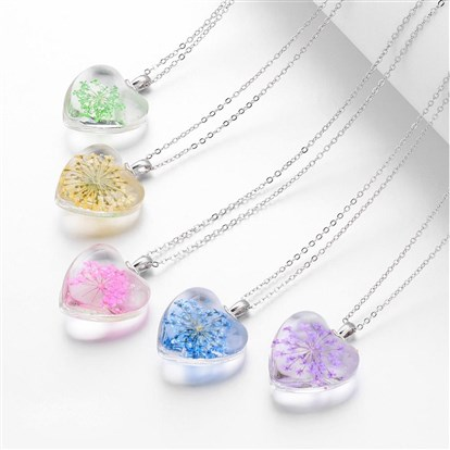 Glass Pendant Necklaces, Heart, with Brass Chains, Platinum-1