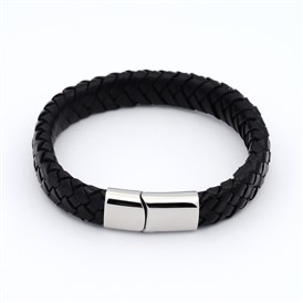 Unisex Casual Style Braided Leather Bracelets Making, with 304 Stainless Steel Clasps, 220x13x6mm
