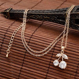 Cherry Brass Cubic Zirconia Pendant Necklaces, with Cable Chain and Lobster Claw Clasps, Nickel Free, 17.9