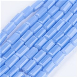 "CornflowerBlue Opaque Glass Beads Strands, Faceted, Cuboid, CornflowerBlue, 6.5~7x3~3.5x3~3.5mm, Hole: 0.5mm; about 80pcs/strand, 20.6~22""(52.5~56cm)"
