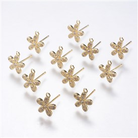 Brass Micro Pave Cubic Zirconia Stud Earring Findings, Flower, Real Gold Plated