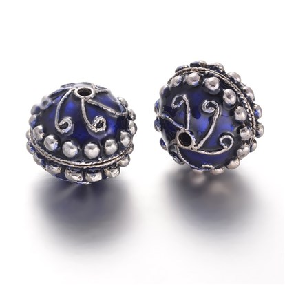 Round Tibetan Style Alloy Enamel Beads, Antique Silver, 27x24.5mm, Hole: 3mm