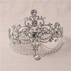 Fashionable Wedding Crown, Platinum Plated Alloy Hair Bands, Bridal Tiaras, with Rhinestone & Imitation Pearl
