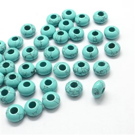 Natural/Synthetic Gemstone European Large Hole Beads, Rondelle, 7~8x13~14mm, Hole: 5mm