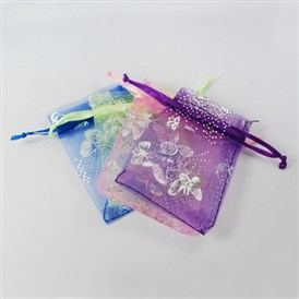 Rectangle with Butterfly Organza Gift Bags, Jewelry Packing Drawable Pouches, with Vacuum Packing, 7x9cm