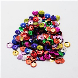 Plastic Paillette Beads, Semi-cupped Sequins Beads, Center Hole