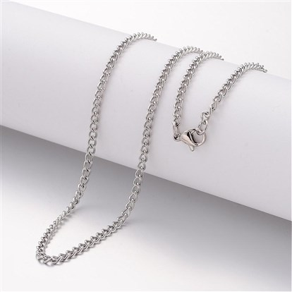 304 Stainless Steel Necklace Makings, Curb Chains, with Lobster Clasps-1