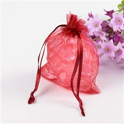 Dark Red Organza Gift Bags with Drawstring, Jewelry Pouches, Wedding Party Christmas Favor Gift Bags, Dark Red, about 8cm wide, 10cm long