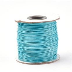 DarkTurquoise Korean Waxed Polyester Cord, Bead Cord, DarkTurquoise, 0.8mm; about 185yards/roll