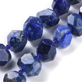 Natural Lapis Lazuli Beads Strands, Faceted, Nuggets