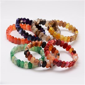 Natural Agate Beads Stretch Bracelets, 60mm