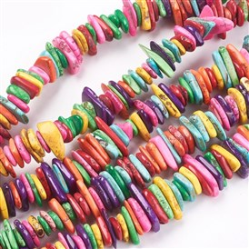 Natural Howlite Chip Beads Strands, Dyed & Heated, 9~30x5~25x4~8mm, Hole: 1mm; about 900pcs/1000g