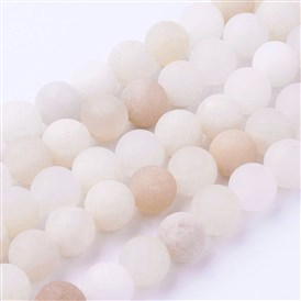 Natural Pink Aventurine Bead Strands, Frosted, Round