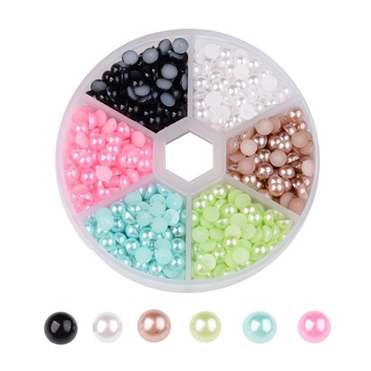1 Box Half Round Domed ABS Plastic Imitation Pearl Cabochons, 5x2.5mm