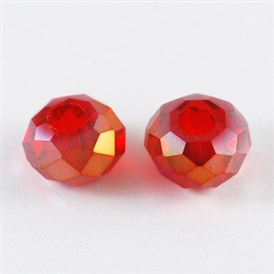 Electroplate Glass Beads, Faceted, Rondelle, AB Color, 10x7mm, Hole: 3mm