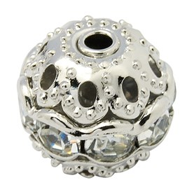 Brass Rhinestone Beads, Grade A, Platinum Metal Color, Round, 6mm in Diameter, Hole: 1mm