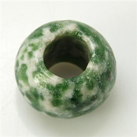 Gemstone European Beads, Green Spot Jasper, Large Hole Beads, No Metal Core, Rondelle, Green, 12x8mm, Hole: 5mm