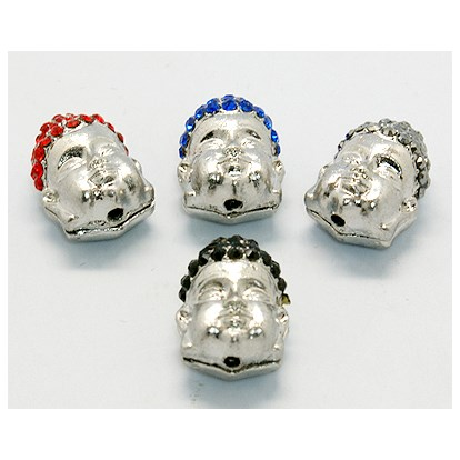 Platinum Alloy Rhinestone Beads, Grade A, Buddha Head, 18x13.5x11mm, Hole: 2mm-1