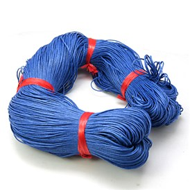 Chinese Waxed Cotton Cord, RoyalBlue, 1mm, about 350m/bundle