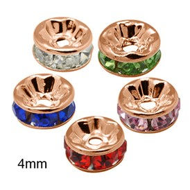 Brass Rhinestone Spacer Beads, Grade AAA, Straight Flange, Nickel Free, Rose Gold Metal Color, Rondelle, 4x2mm, Hole: 1mm