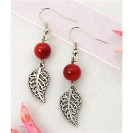 Dangle Leaf Earrings, with  Tibetan Style Pendant, Glass Beads and Brass Earring Hook, 48mm