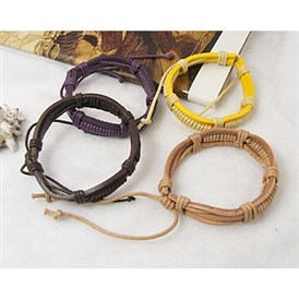 Cord Bracelets, with Waxed Cotton Cord and PU Leather, 55mm