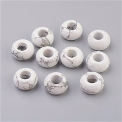 Howlite Natural Howlite European Beads, Large Hole Beads, Rondelle, 14x8mm, Hole: 5mm